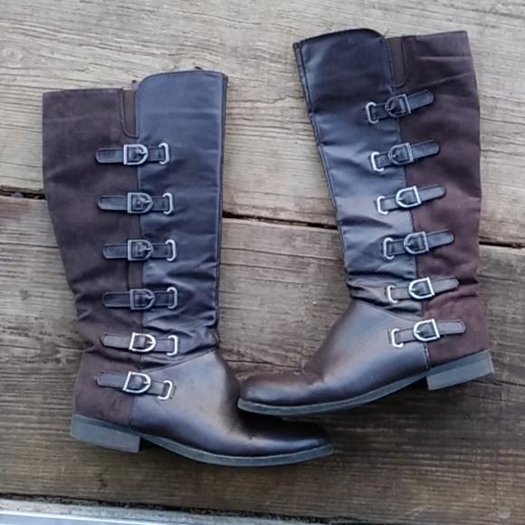 Bumper Shoes - Add2bundle$4Faux suede& leather buckle knee boots